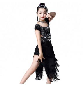 Girls latin dance dresses kids children rhinestones tassels stage performance competition salsa rumba chacha dancing skirts costumes